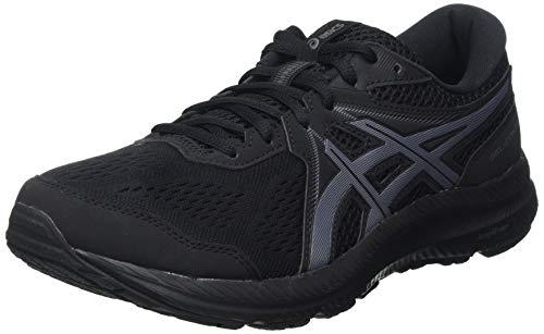Asics Gel-Contend 7, Road Running Shoe Hombre, Black/Carrier Grey, 43.5 EU