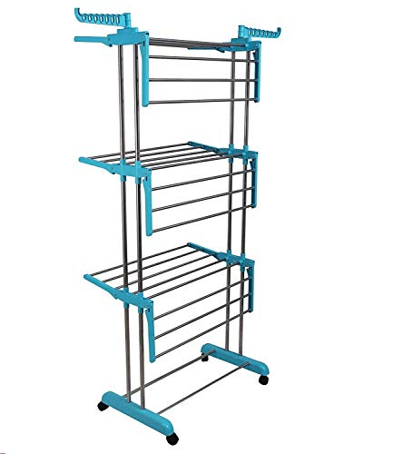 Livix Heavy Duty Rust-free Stainless Steel Double Pole Cloth Drying Stand For Balcony/Clothes Dryer Stands/Laundry Racks with Wheels for Indoor/Outdoor/Balcony (Indian Blue)