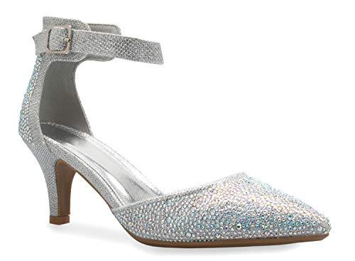 Olivia K Damen Sexy Glitzer Strass D'Orsay Knöchelriemen spitz zulaufender Zehenbereich niedriger Absatz Pump – bequem, klassisch, Silber (Silberfarbene Strasssteine), 36 EU