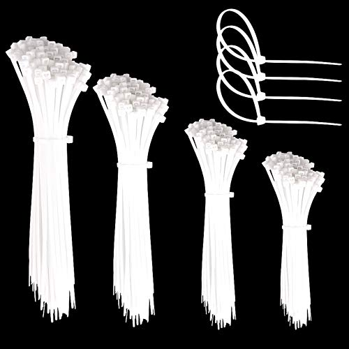 Faburo 600pz Fascette Plastica per Cablaggio, Fascette Stringicavo,Fermacavo Bianco Elettricista, Nylon Cavi Fascette, 150 pz x 80/100/150 / 200mm (600 pezzi)…