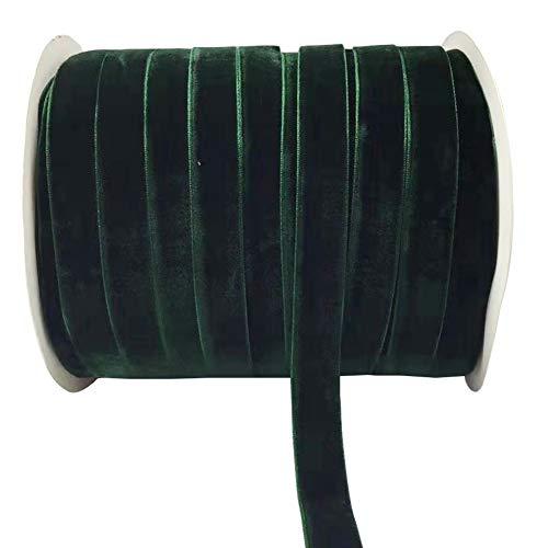 "10 Yards Velvet Ribbon Spool Available in Many Colors (Dark Green, 5/8"")"