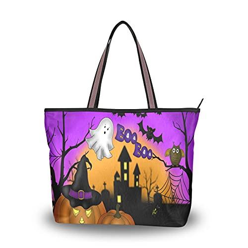 NaiiaN für Mutter Frauen Mädchen Damen Student Halloween Nacht Kürbis Laternen Einkaufstasche Leichter Gurt Umhängetaschen Handtaschen Geldbörse Einkaufen