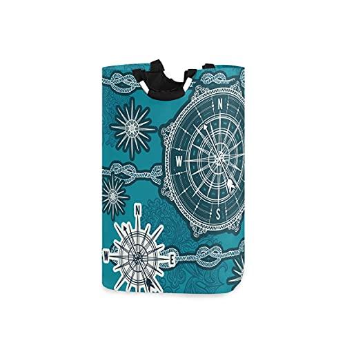 Hunihuni - Cesta de lavandería plegable con brújula náutica para el baño, dormitorio, lavandería