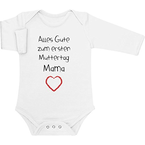 Shirtgeil Alles Gute zum ersten Muttertag Mama - Geschenk für Mutter Baby Langarm Body 0-3 Monate Weiß