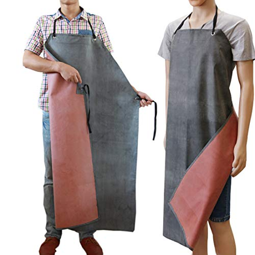 Men's Rubber Apron Waterproof Work Aprons Butcher Chemical Oil Resistant for Dishwashing, Cleaning, Butcher, Dog Grooming Factory Slaughterhouse