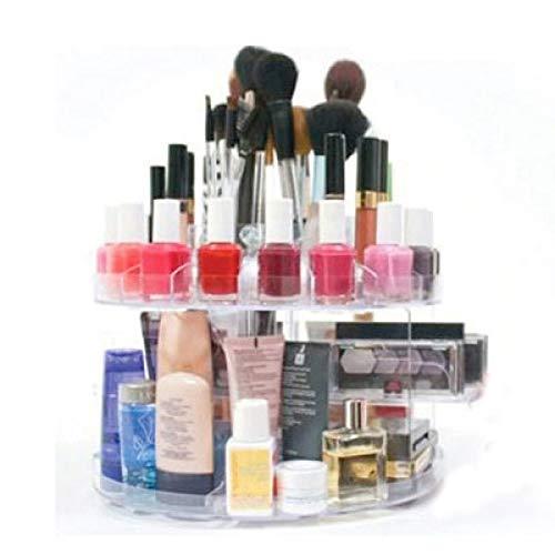 SHOP-STORY - Coffret Rangement Tournant 360° Présentoir de maquillage Compartiments pour Vernis à Ongles Rouges à Lèvres Pinceaux de Maquillage Ombres à Paupières Crèmes et Parfums Home Nail Salon Glam Caddy Professionnel