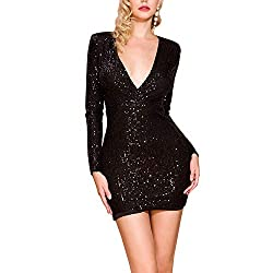 Deep V Black Sequin Long Sleeve Elegant Mini Dress