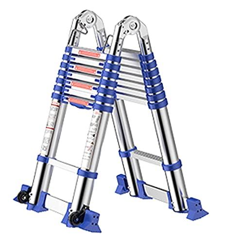 Escalera telescópica Botón de retracción Aluminio Escalera Extensible Aluminio Plegable portátil Ligero 330 LB Capacidad de Carga con Barra de Soporte Antideslizante