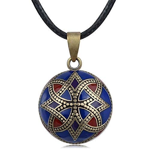 CLEARNICE Navy Blue Red Color Pregnancy Bola Harmony Pendant Celtic Knot Harmony Ball Necklace for Pregnant Woman Pregnancy New Mom Chain Length 45Cm