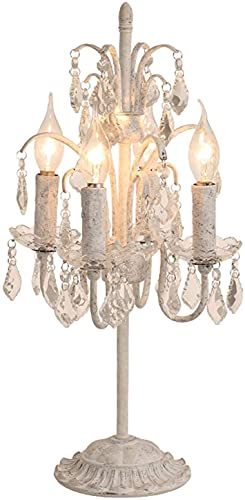 Lámpara de Mesa 22'Lámpara de Mesita de Mesita de Cama de Cristal Blanco Retro de Cristal de Altura Retro Lámpara de Mesa Adecuada para la Sala de Estar de la Sala de Estar de la Sala de Estar L