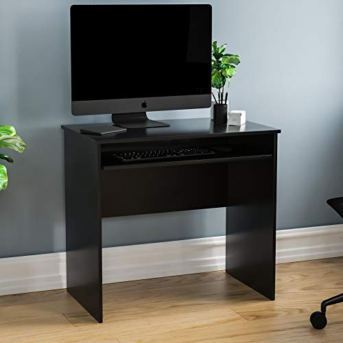 Vida Designs Huby Small Computer Desk, Home Office Compact PC/Laptop Table, Gaming Study Portable, Workstation with Keyboard Tray, Furniture, Black