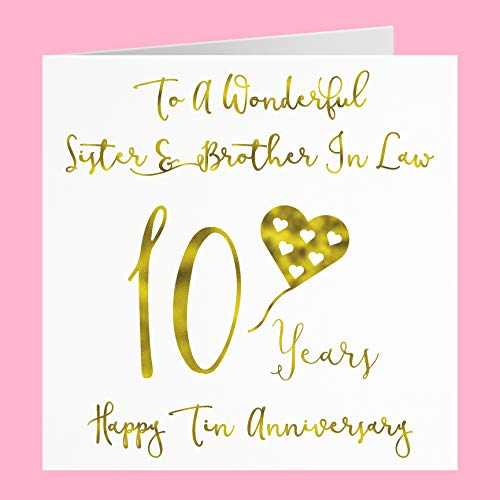 Sister and Brother in Law 10th Anniversary Card - to A Wonderful Sister & Brother in Law - 10 Years - Happy Tin Anniversary - Milano Collection