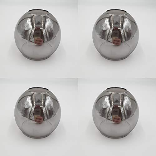 Set Ersatzschirm E14 LED geeignet Lampenschirm rauchfarbig Ersatzglas smoke Lampe Pendellampe Nachttischleuchte Deckenstrahler Lampenglas (4Stk. rauchfarbig)