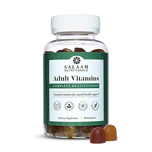Salaam Nutritionals Halal Adult Gummy Multivitamins – 11 Essential Vitamins and Minerals with Antioxidants – Kosher, Vegetarian, Non-GMO, Gluten, Dairy, & Nut Free (90 Count)