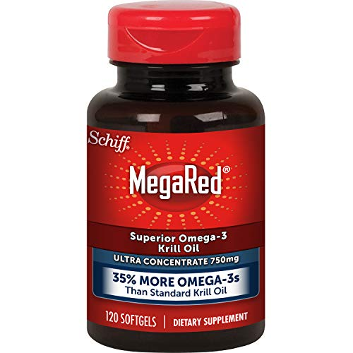 Megared 750mg Omega-3 Krill Oil Supplement, Ultra Strength Softgels (120 Count in a Bottle), Has No Fishy Aftertaste and Has EPA & DHA Plus Antioxidant Astaxanthin