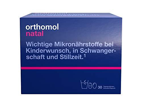 Orthomol natal 30-talet granulat och kapslar – folsyrakombi för kvinnor med barns önskningar, graviditet och amning