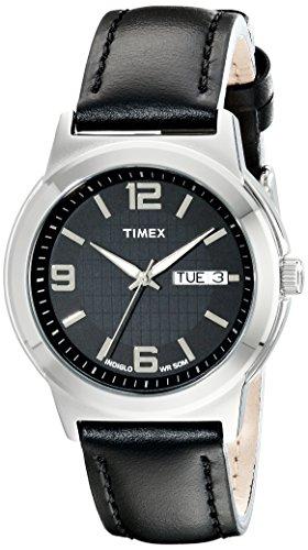 Timex Men's T2E561 Bank Street Black Leather Strap Watch
