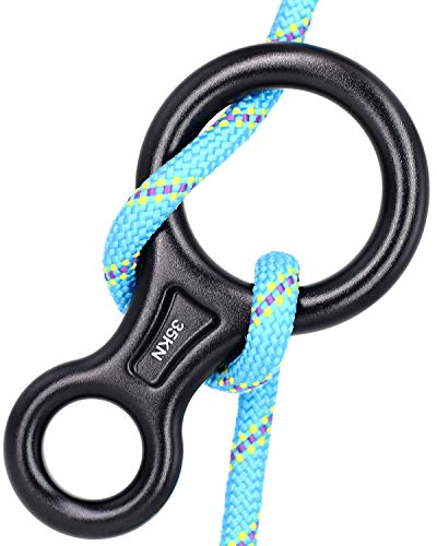 CyberDyer 35KN Figure 8 Descender, Rescue Figure 8 Rappelling Gear Belay Device Aviation Aluminum Rigging Plate for Climbing Belaying and Rappelling (Black)