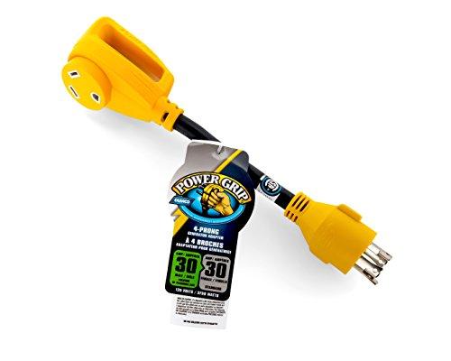 Camco 55382 Adaptateur de générateur PowerGrip mâle à 4 Griffes 30 A 30 A