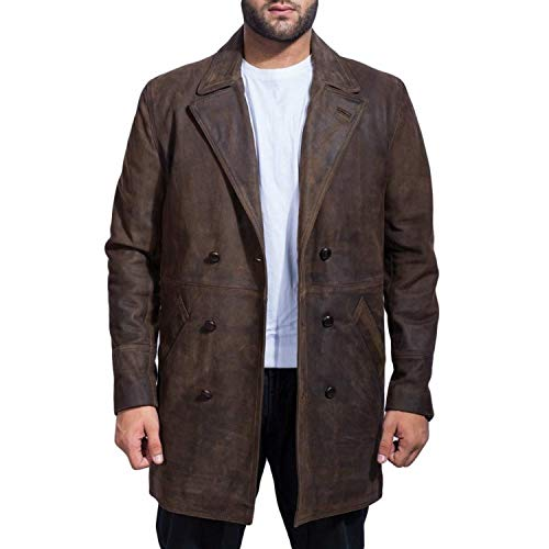 Dunhill Leather Men, Women El día del Doctor The War Doctor Cowhide Genuine Leather Distressed Black Coat