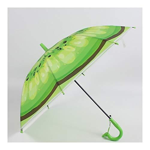 LIWEIKE Paraguas Creativo de la Fruta Creativa Paraguas Paraguas de los niños de Escuela Primaria Recta Paraguas de plástico Verde del Paraguas Paraguas Transparente (Color : Green, Size : 48.5 * 8K)