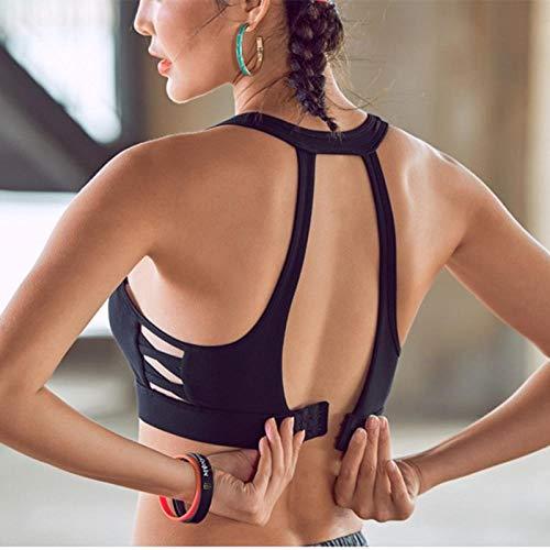 Sport BH Side Cross Frauen Sport-BH Verstellbare Rückenschnalle Yoga-BH Sexy Frauen Komfortabler Lauf Stoßfester Fitness-BH XL Schwarz