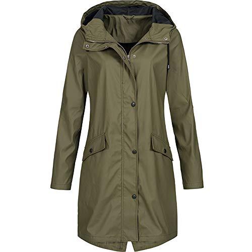 iHENGH Damen Winter Jacke Dicker Warm Bequem Parka Mantel Lässig Reißverschluss Outdoor Plus Wasserdicht mit Kapuze Regenmantel Winddicht(Armeegrün, 4XL)