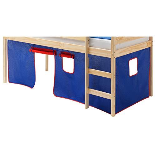 IDIMEX Vorhang Gardine Bettvorhang Classic zu Hochbett Rutschbett Spielbett in blau/rot