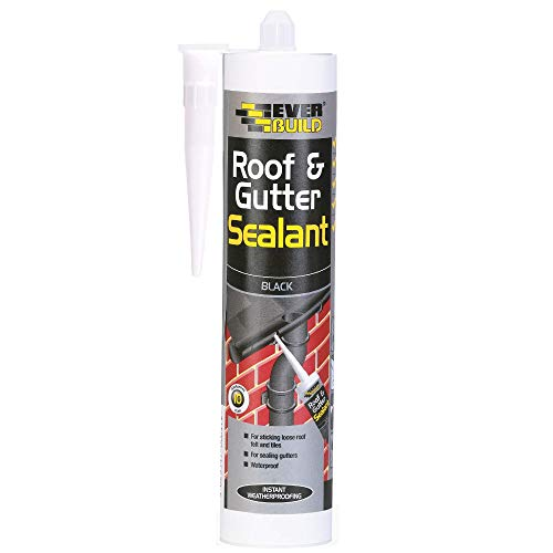 Everbuild Roof & Gutter Sealant, Butyl Based Sealant and Adhesive for Roofing, Black, 295 ml