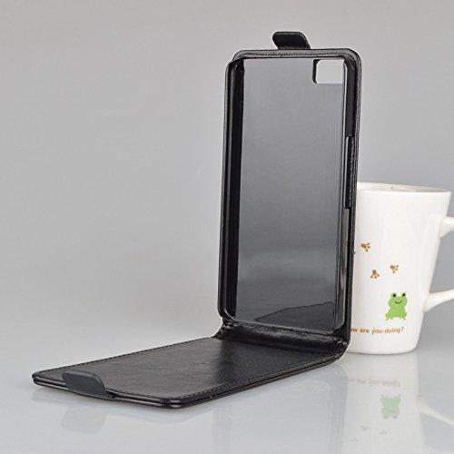 Unbekannt Leder-Imitat Flexi schwarz p für BQ Aquaris M5.5 Hülle Etui Flip Cover Flexi Silikon Klapp Tasche