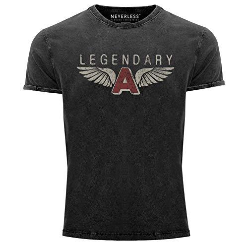 Neverless® Herren Vintage Shirt Legendary Wings A Flügel Airforce Pilot Flieger Printshirt Used Look Slim Fit schwarz L