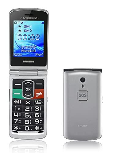Brondi Amico N°Uno, Telefono cellulare GSM per anziani con tasti grandi, tasto SOS e funzione da remoto, dual SIM, volume alto, Argento