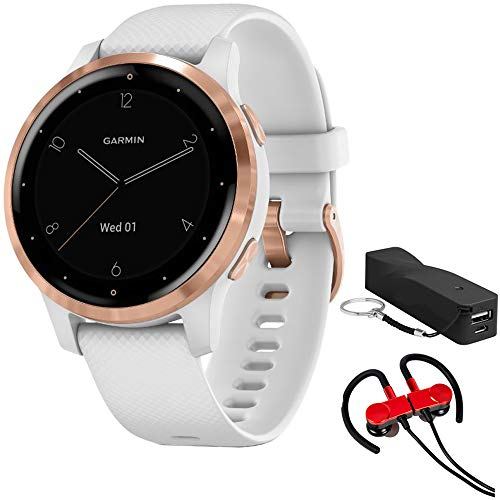 Garmin 010-02172-21 Vivoactive 4S Smartwatch, White/Rose Gold Bundle with Deco Gear...