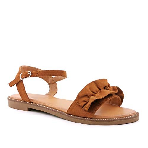 Angkorly - Damen Schuhe Sandalen Sandalen - orientalisch - Böhmen - stilvoll - String Tanga - mit Stroh - barock Blockabsatz 2 cm - Camel LW07 T 40