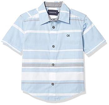 Calvin Klein Boys  Short Sleeve Button Up Woven Shirt Light Blue X-Large  18/20
