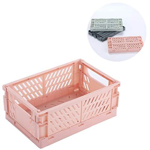 BAREGO Kunststoffklapp-Aufbewahrungsbox/Korbbehälter/Faltbarer Kistenbehälter Korb, Aufbewahrungsbox für Dokumente, Spielzeug, Kleidung und Lebensmittel (Rosa, M:25x16.5X10cm)