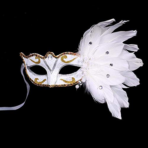 SLM-max Máscara Muy aterradora Máscara de Halloween Máscara de Mascarada Veneciana Máscara de Ojos de Fiesta Flor de Encaje de Plumas Accesorios de Mascarada para Mascarada/Fiesta/Mardi Gras-Blanco