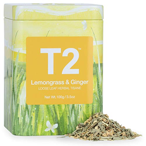 T2 Tea Lemongrass & Ginger, 1.7 Oz Loose Leaf Herbal Tea in Tin - Great for Digestion & Colds, 50 g