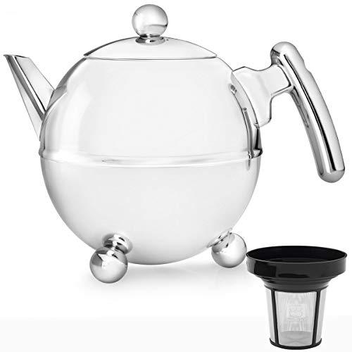 Bredemeijer Edelstahl Teekanne Set 1,5 Liter Griff chromfarben mit Teefilter Sieb
