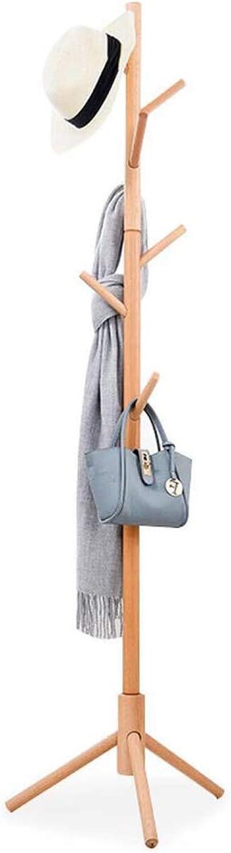 Wooden Entryway Coat Rack Stand, Minimalist Coat Hanger Has Tree Free Standing, 8 Hooks Tripod Legs Non-Toxic Office Umbrella-Wood 172x45cm(68x18inch)