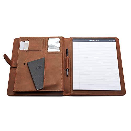 LUXBUFFALO Premium Leather Handmade Business Portfolio Organizer with Document, iPad Sleeves for Men and Women