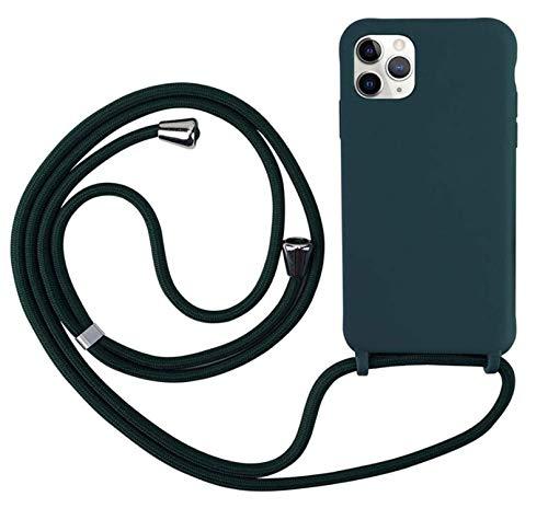 MEVIS Cover Compatible con iPhone 11,Cover con Pratico Cordino,con Cordino TPU Corda Silicone Case Bumpe-Verde Scuro