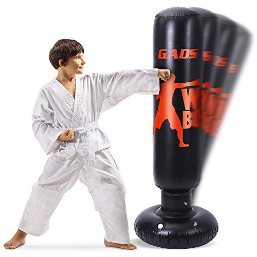 GADS Boxsack Kinder und Boxsack Erwachsene – 1,60 m Hoher Aufblasbarer Punchingball mit Federung – Boxsack Stehend für Kinder, für Kickboxen, Karate, MMA, Boxen und Stressabbau