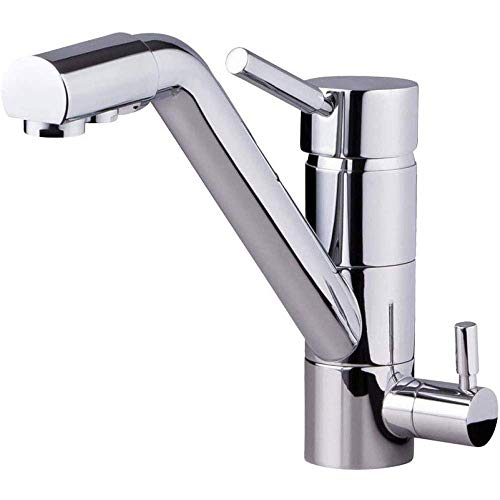 Touch On Kitchen Sink Faucets Non-Contact Kitchen Sink Washing Faucet Three Way Sink Mixer Kitchen Faucet Polish Silver Finish Osmosis Reverse Tri Flow Water Filter Tap Easy to Install