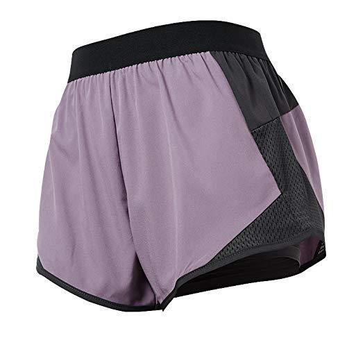 Pantalones Cortos Deportivos Transpirables Sexis con Costura de Cintura Alta para Mujer, Pantalones Cortos de Verano Falsos de Dos Piezas antideslumbrantes para Gimnasio, Entrenamiento, Yoga X-Large