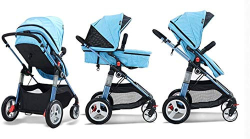 LAMTON Baby Pushchair, Buggy, Pushchairs Baby Stroller with Reversible Bassinet Compact Pushchair Suitable for Children 0-3 Years Old,80x100cm (Color : Blue) LAMTON The adjustable 5-point safety harness has comfortable shoulder pads, The sturdy frame has a wider seat which results in a more comfortable ride for your child The stroller can be easily folded, smaller and more portable; the adjustable backrest angle can be seated or lying down, as well as a large shopping basket and caster ★Carbon steel frame, sturdy, lightweight, durable, easy to store and travel 4