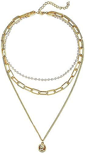 WYDSFWL Collar Mujer Collar Vintage Collares de Oro multinivel para Mujer Boho Artificial Cabeza de Perla Colgante Collar Joyería Regalos de Fiesta