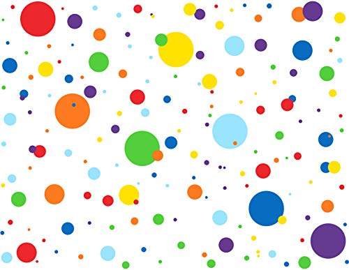 Mozamy Creative Dots Wall Decals (175 Count) Primary Colors Dots Decals Rainbow Colors Polka Dot Decor Kids Wall Decals Classroom Wall Decals Playroom Wall Decor