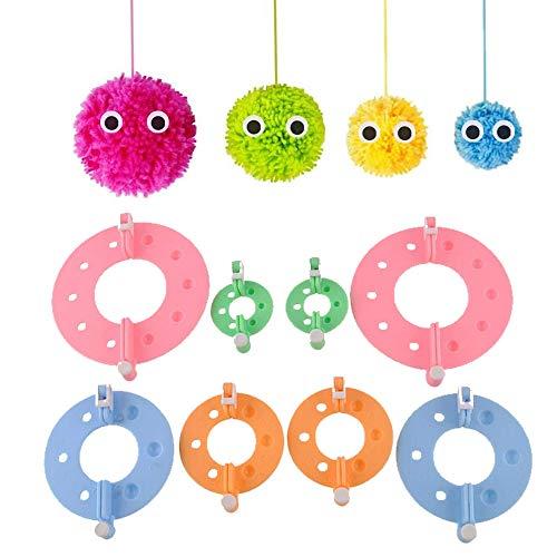 2 Sets Pom Pom Maker, 8 pièces 4 Tailles, DIY Pompoms Artesanía Doll haciendo Kits-Hilado de lana Knitting Craft Tool Set Fabricante de pom-pom para niños y adultos -Pom Pom Maker(3,5cm/5,5cm/7cm/9cm)