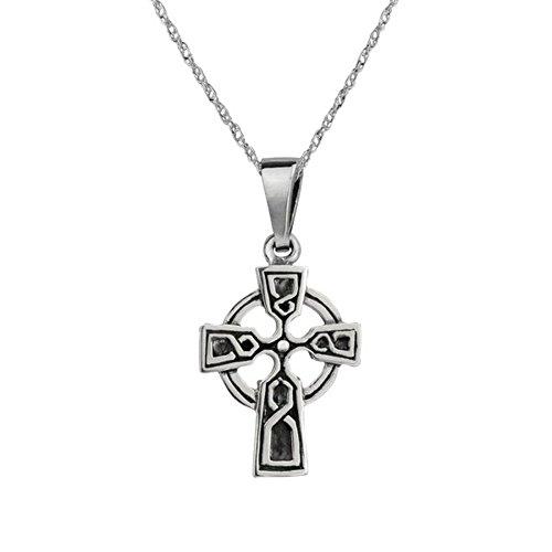 Pendant croisé de collier de conception découpé par pierre celtique traditionnelle de Knotwork d'éternité d'argent sterling - comprend un 20\